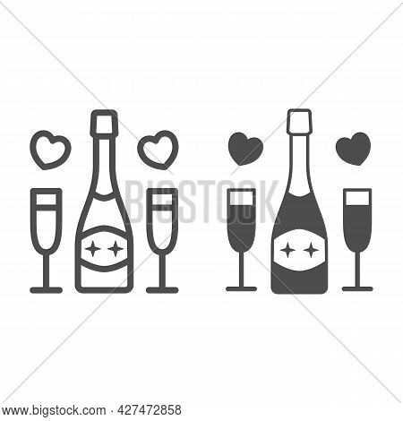 Champagne For Two Person Line And Solid Icon, 8 March Concept, Romantic Date Symbol On White Backgro