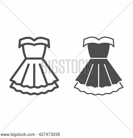 Women Party Dress Line And Solid Icon, 8 March Concept, Classic Fashion Cloth For Woman Sign On Whit