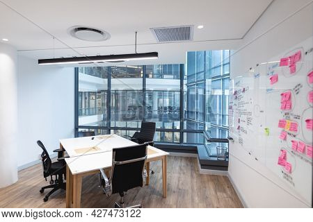 Interior of empty meeting room in modern office. modern office of a creative design business.