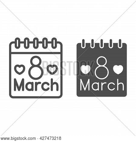 International Women Day Calendar Line And Solid Icon, 8 March Concept, Calendar Day On 8th March Sig