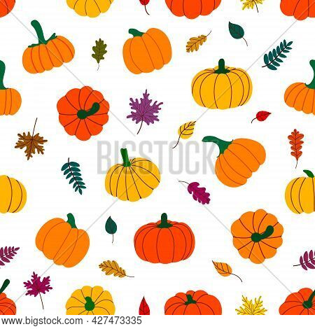 Colorful Autumn Leaves And Pumpkins. Vector Illustration