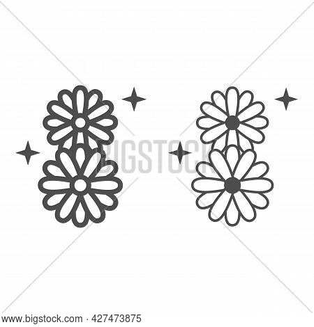 Daisies In Eight Shape Line And Solid Icon, 8 March Concept, Chamomile Flowers Sign On White Backgro