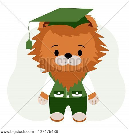 Illustration Of A Pupil Tiger In Trousers, A Vest And A Shirt