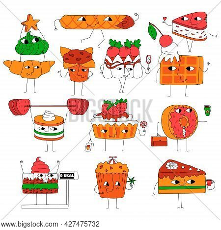 Vector Illustration With A Set, A Collection Of Elements Of Confectionery Sweets, Cookies, Cakes, Fu