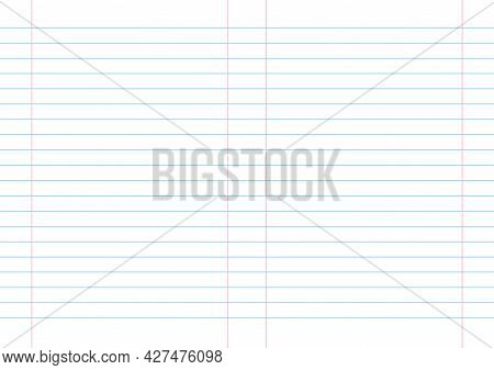 Empty Lined Page Notebook School Blank Pad, Vector Background. Blue Striped Copybook. Red Ruled Doub