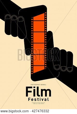 Movie Festival Poster Design Template Background With Vintage Filmstrip. Can Be Used For Backdrop, B