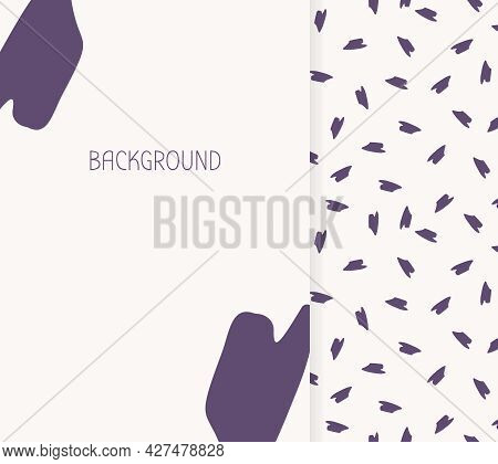 Banner Blank. Abstract Seamless Pattern. Limitless Background, Doodle Hand Drawn Purple Shapes Repea