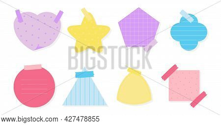Flat Colored Paper Sticker Set. Various Shapes Notepad Of Reminder Messages Or Organizer. Memo Stick