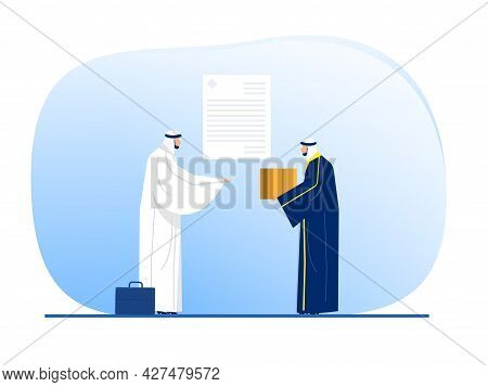 Muslim Man Arab Sell And Buy Product With Invoice Illustration Vector