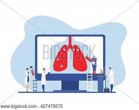 Doctors Do A Lung Exam. Covid-19 Coronavirus Vaccination Or Research. Flat Vector Vector Illustratio