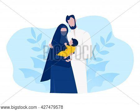 Muslim Arabic Family Muslim Family With Kid Cartoon Characters Flat Vector Illustration.