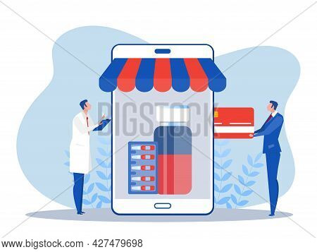 People Sell Vaccine Online Pharmacy Flat Design Concept. Vector Illustration