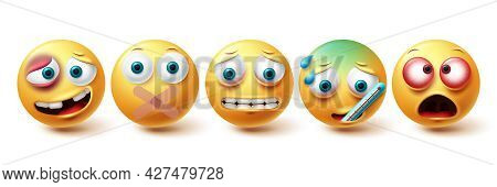 Emoji Sick Vector Set. Emojis Tired, Ill, Silent And Irritated Icon Collection Isolated In White Bac
