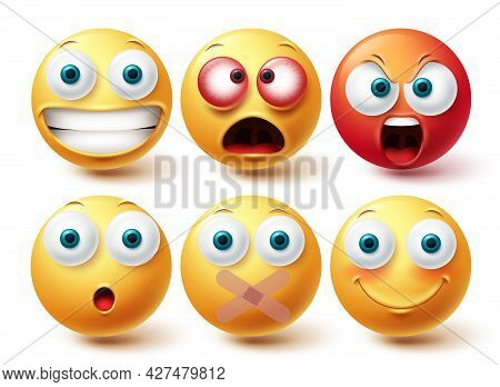 Emoji Vector Set. Emojis Emoticon Happy, Angry And Silent Yellow And Red Icon Collection Isolated In