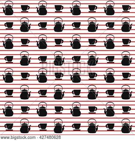 Pattern With Cups And Teapot. Background With Red Stripes. Vector Illustration. For Menus, Cafes And