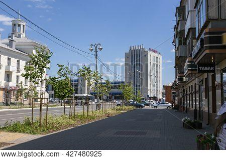 Belgorod, Russia - July 08, 2021: View Of Belgorod Railway Station By Grazhdanskiy Avenue