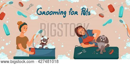 Grooming For Pets Banner. Salon For Dogs. Template For Web Page Design. Vector Illustration In Flat