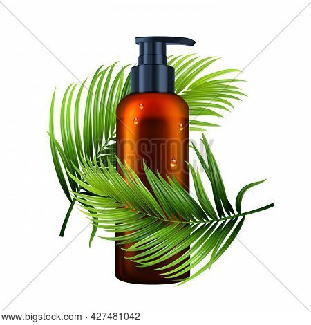 Lotion Bottle With Pump And Tree Branch Vector. Liquid Soap Blank Dispenser Bottle And Plant Green L