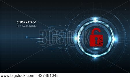 Cyber Attack Technology Concept.padlock Red Open On  Dark Blue Background.cyber Attack And Informati