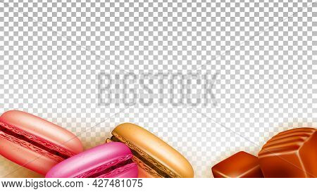 Toffee Caramel Candies And Macaroons Food Vector. Candies And Cookies Baked Sweet Dessert, Gastronom