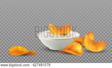 Potato Chips Snack With Mayonnaise Sauce Vector. Tasty Crunchy Chips Slices Dipping In Delicacy Crea