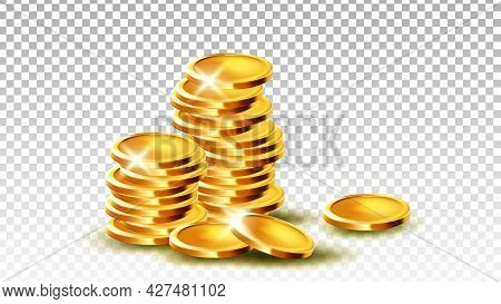Coins Pile Stack Gambling Game Jackpot Vector. Stacked Metallic Coins Treasure Money For Payment And