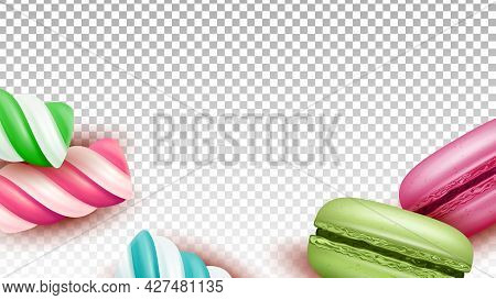 Macaroons Cakes And Lollipop Sweet Candies Vector. Baked Macaroons Cookies And Delicious Sugary Stri