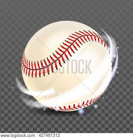 Baseball Ball For Playing Competitive Game Vector. Sport Team Player Accessory For Play Baseball Cha