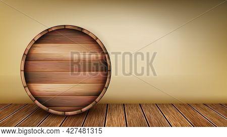 Wooden Barrel Laying On Floor Copy Space Vector. Beer Or Wine, Cognac Or Whiskey Storage Round Oak B