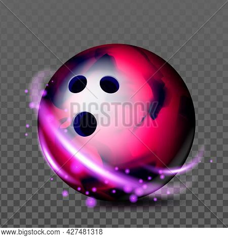 Bowling Ball Recreational Game Accessory Vector. Spherical Bowling Ball With Holes For Sportive Comp