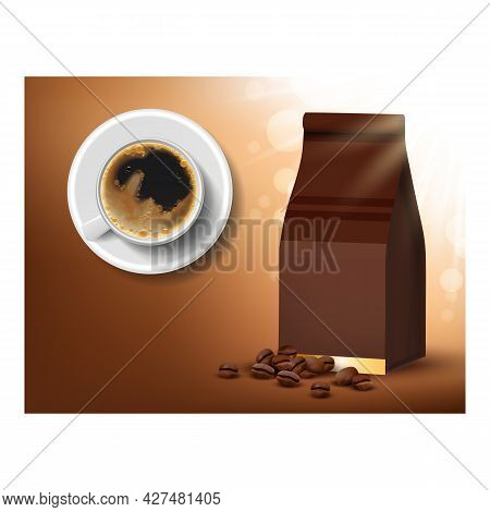 Robusta Coffee Beans Promotional Poster Vector. Coffee Drink In Ceramic Cup And Blank Bag Package On