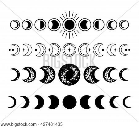 Mystical Boho Moon Phases Isolated Cliparts Bundle, Celestial Collection, Phase Of The Moon Set, Mag