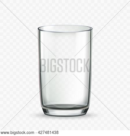 Glass Cup For Drinking Milk Or Water Drink Vector. Empty Glass Cup For Taste Natural Dairy Liquid Or