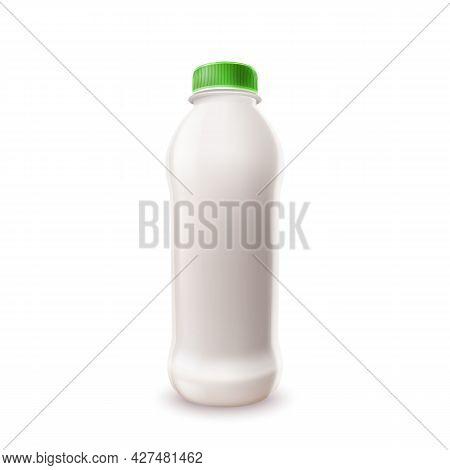 Milk Beverage Blank Plastic Bottle Package Vector. Milk Or Yogurt Container With Green Cap, Breakfas