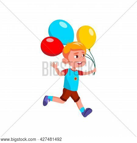 Boy Running With Helium Balloons At Party Vector. Caucasian Schoolboy Kid Run With Multicolored Air
