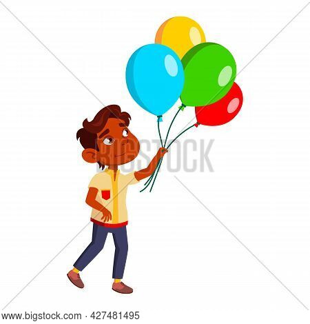 Boy Kid Walking And Looking At Air Balloons Vector. Hispanic Little Schoolboy Enjoying And Walk With