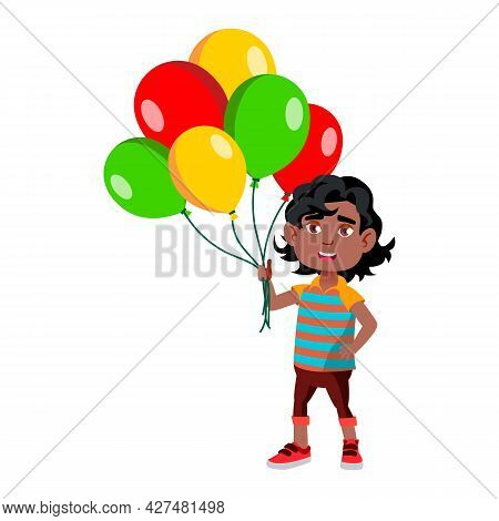 Boy Kid Standing With Multicolored Balloons Vector. Happy African Small Child Staying With Helium Ba