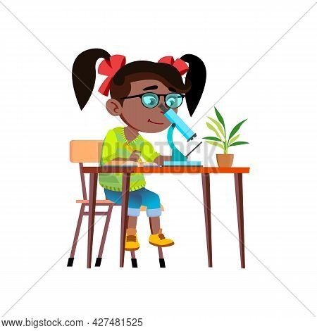 Girl Scientist Researching With Microscope Vector. African Schoolgirl Scientist Research And Studyin