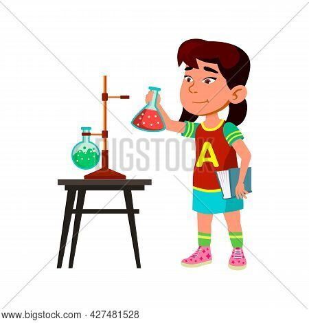 Girl Child Study On Chemistry School Lesson Vector. Asian Schoolgirl Developing And Testing Chemical