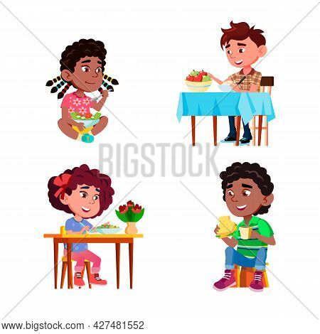 Children Eat Salad Healthy Natural Dish Set Vector. Boys And Girls Eating Salad Delicious Healthcare