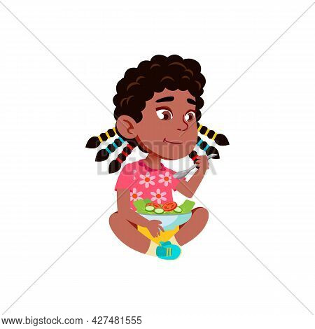 Girl Sitting On Floor And Eating Salad Vector. Cute African Lady Kid Eat Vegetarian Salad With Spoon