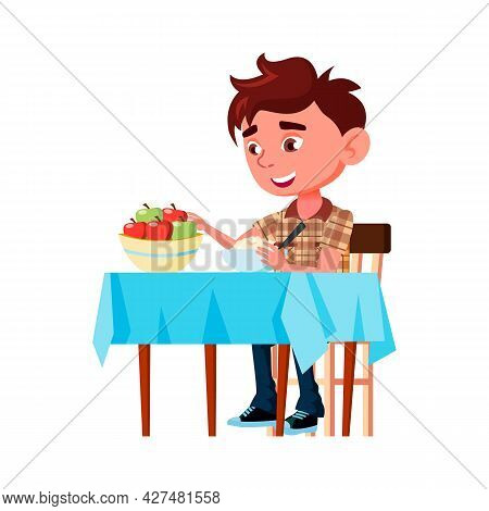 Boy Kid Eating Porridge And Apple At Table Vector. Child Sitting At Desk And Taste Delicious Vitamin
