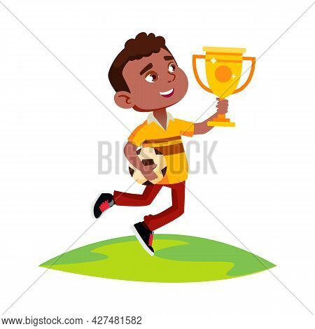 Boy Celebrate Victory In Soccer Competition Vector. Happy African Boy Holding Golden Cup Award And F