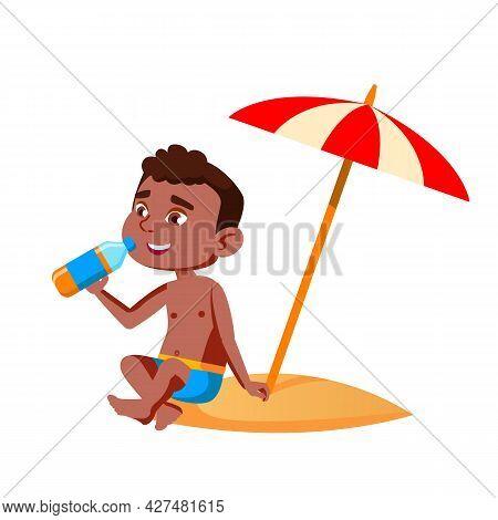 Boy Kid Sitting On Beach Under Umbrella Vector. African Preteen Child Guy Sit On Beach Sand And Drin