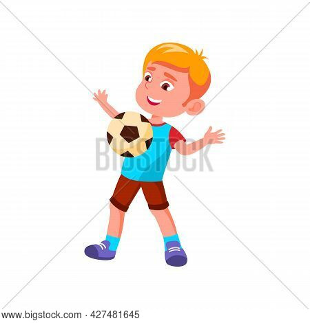 Boy Child Catching Soccer Ball On Chest Vector. Caucasian Kid Player Play Football And Catch Ball On