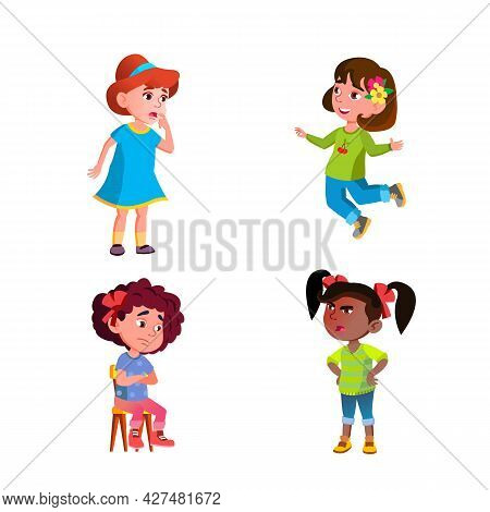 Girls Children Different Emotions Mood Set Vector. Happy Jumping And Angry Shouting At Friend, Thoug