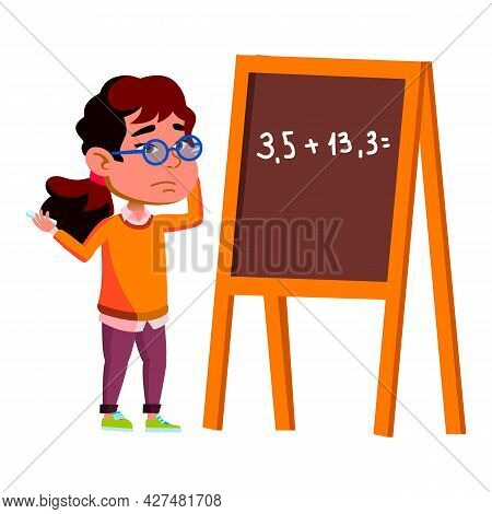 Thoughtful Girl Kid Search Problem Decision Vector. Confused Thoughtful Schoolgirl Searching Solutio