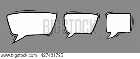 Rectangle Speech Bubbles In Comic Style. Square Speech Bubbles Isolated In Grey Background. Handdraw