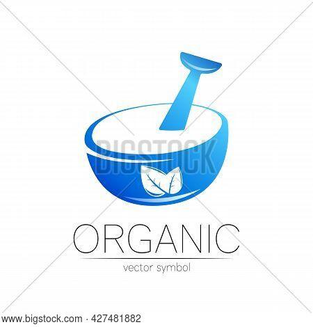 Vector Mortar And Pestle Blue Symbol Logo With Leaf. Ecology Icon Concept For Medicine, Vegetarian,
