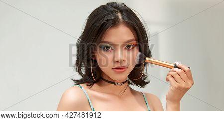 Nice Model, With Makeup Brush - Image